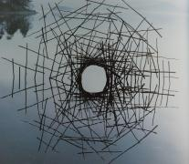 Andy Goldsworthy Sticks Framing A Lake Ice Starsphere In An