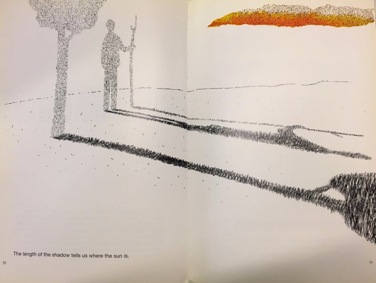 """As said in the book, Munari suggested that """"When drawing the sun, try to have on hand colored paper, chalk, felt-tip markers, crayons, pencils, ballpoint pens. You can draw a sun with any one of them. Also remember that sunset and dawn are the back and front of the same phenomenon: when we are looking at the sunset, the people over there are looking at the dawn."""" (Drawing the Sun, 1980). In this case not only did Munari distinguish the materials that he utilised to create the sun, but he also emphasised the importance of drawing as a process and colour when creating light. Therefore, allowing him to execute the sun as an object and light from different perspectives such as shadow shapes, buildings, trees and many more. Within the context of animism, what I interpreted from Munari's text was the implication that inanimate things have life even if it isn't moving itself. Moreover, light can be used to emphasise the existent of """"life"""" in all living and non-living things as Munari has demonstrated. This opened a wider option of ideas that my group and I could construct with consideration of different types of objects and light and how they might compliment one another."""