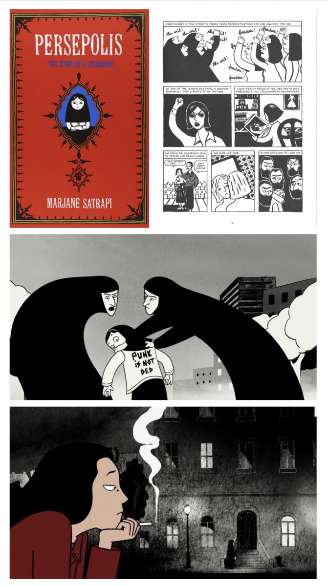 Images are compiled from screenshots of the comic and stills from the movie