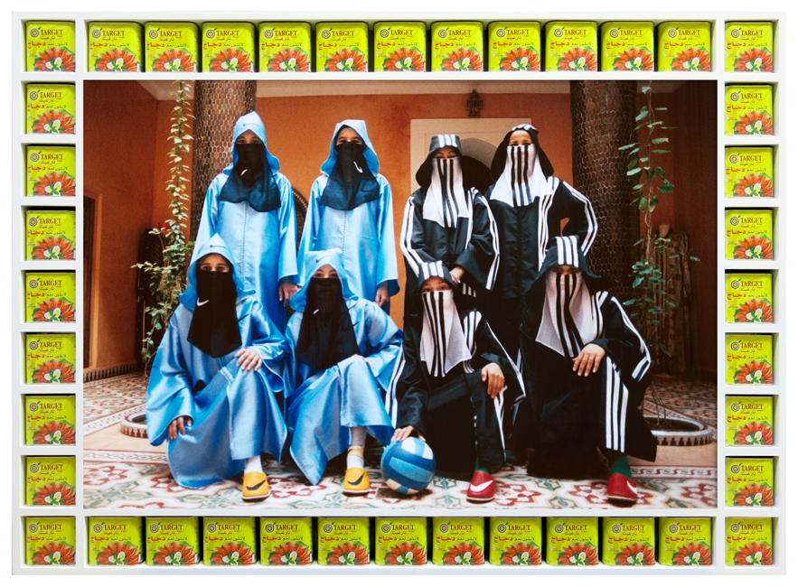 Hassan Hajjaj_N. Vs A._2007_metallic lambda with wood sprayed white gloss frame_137.6 x 101.2cms_650.jpg