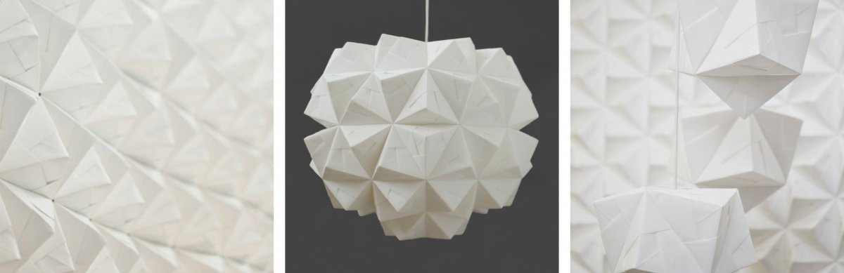 Kyla McCallum - Sonobe Wall Panel, Kyla McCallum - Leah Pendant, Kyla McCallum - Maya Pendant. These pieces are made using a modular origami technique called sonobe, the individual units can be slotted together to form a larger object, this artist adheres the paper using glue, which isn't used in traditional origami. The white colour scheme allows for shadows and highlights to show the form and all the different facets of the piece. The repeating tetrahedron pattern and symmetry gives a sense of order and regularity and peacefulness. Hanging the pendant lights in a set of three at varying heights gives visual interest to the piece and it directs the eye in a spiral formation.