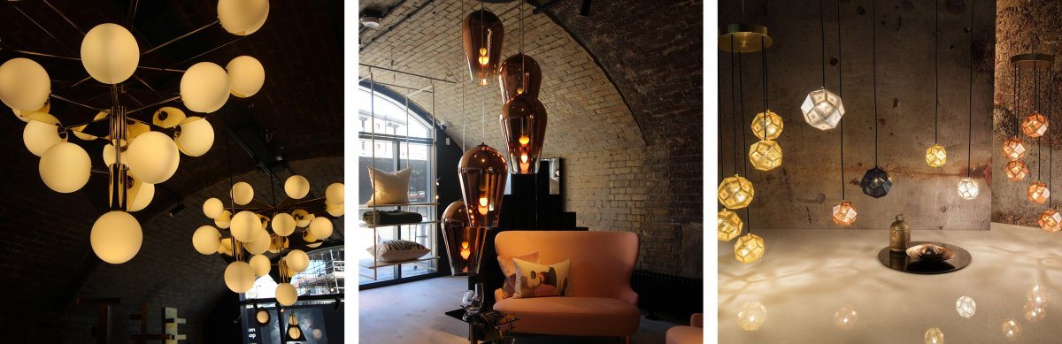 Tom Dixon - Plane Chandelier, Tom Dixon - Fade Copper Round Pendant System, Tom Dixon - Etch Mini Chandelier. The round globe like enclosures that the bulbs are housed in create a contrast with the thin metal beams that support them. The lights are arranged in regular polygons that have more sides as you go up. The warm colour temperature of the light gives a soothing, relaxing mood to the room. The second pendant is an inverted teardrop shape with a surface finish that blends from 100% opacity to clear. The spiral formation gives a sense of movement and flow to a space. The combination of several different materials can add variety to the space and it adds visual interest.