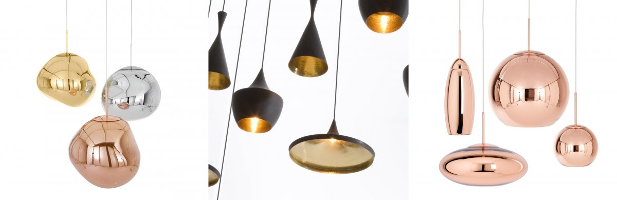 Tom Dixon - Melt Pendant, Tom Dixon - Beat Pendant, Tom Dixon - Copper Pendant. The organic liquid like shape of the pendant gives it a life life extra terrestrial form. The uneven shape distorts the light coming out of the pendant, it also distorts the reflect that can be seen on it's outer surface. I like the contrast between the matte black outer surface and the luxurious hammered gold interior. The texture catches the light at different spots and it changes depending on the angle you are viewing it from. I like the spherical shape of the copper pendants and the distorted spheres that have been stretched and pulled. The round shape ties them together so that they match when displayed together in a room.