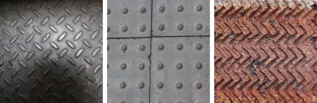 Archway - Textured Metal, Archway - Raised Pavement, Archway - Herringbone Brick. The alternating raised pattern on the metal sheet was used on the staircase, the added textures gives the surface more grip and more traction when you are walking on them. The raised bumps on the pavement are made for people who are visually impaired, it allows them to identify where to cross the road, as they can feel the bumps under their feet. The way the bumps are spaced out allows for the pattern to be consistent as you put the tiles together. The wave pattern on the brick guides rain water through it's gaps in a angular pattern. The pattern can be created by pouring the bricks into a textured mould.