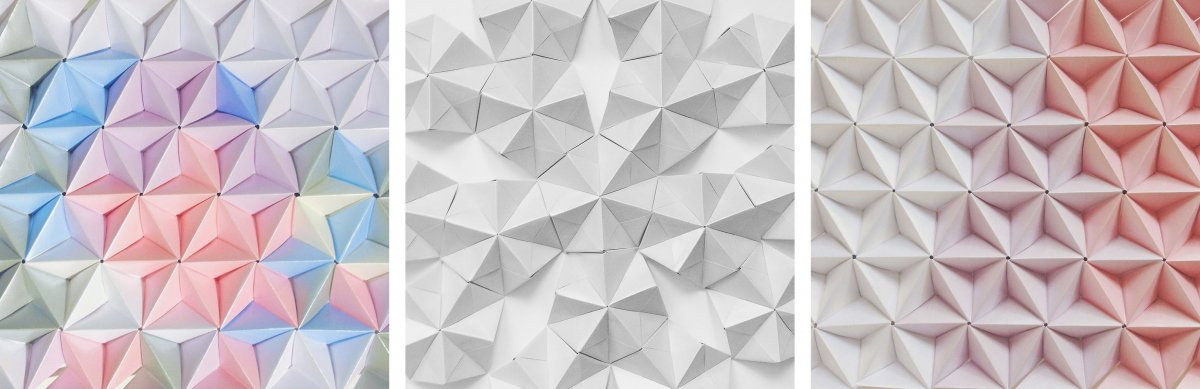 Modular - Coco Sato - Origami Sacred Geometry. These paper panels are made using modular origami pieces called sonobe. The pattern is different on both sides, one where the tetrahedrons are convex, while the other side has concave tetrahedrons. They can be used on a smaller scale or when used in large quantities can be very expansive. These pieces are attached to a frame and can be used to decorate a home. The use of various colours adds a random element to the piece. I like the second piece where there are gaps in the tessellation, this allows you to see the surface behind it. The subtle change in colour in the third piece gives a soft gradient to the entire piece, which leads the eye.