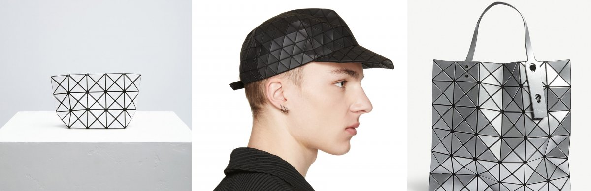 Tessellated - Issey Miyake - Prism Pouch, Issey Miyake - Pleated Baseball Cap, Issey Miyake - Bao Bao Bag. The textile for these pieces are made using a softer material with a more rigid stiff material adhered on top, this allows the fabric to fold along the seams and create an origami like effect. The contrast between the white triangles and the black seams shows off the fold lines and outlines the folds. The triangular tessellation is contoured to fit around the human head in the cap. I like how the tessellation is carried on to the brim of the hat to give continuity. The more things you put in the tote bag the rounder the bag appears to be. The reflective material scatters the light around.