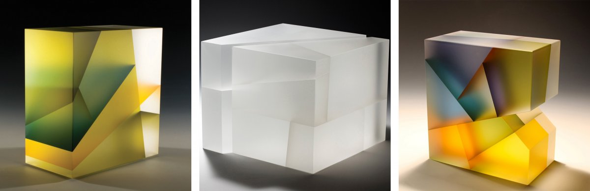 Segmented - Jiyong Lee - Green Leaf Cuboid, Jiyong Lee - White Segmentation-Construction, Jiyong Lee - Segmentation With Missing Block. These sculptural glass pieces are made using frosted glass, so they have a matte surface to them. The blocks of glass are sliced into triagular segments, then rearranged and headed up to reattach them. colour can be added to the faces of the cut faces, this is diffused by the frosted glass and it creates a soft glow of colour. I like the use of a similar colour pallet as they create a good harmony within the piece. The all white colour of the second piece gives it an ethereal look. The varied colours are also effective, as they give a sense of chaos to the piece.