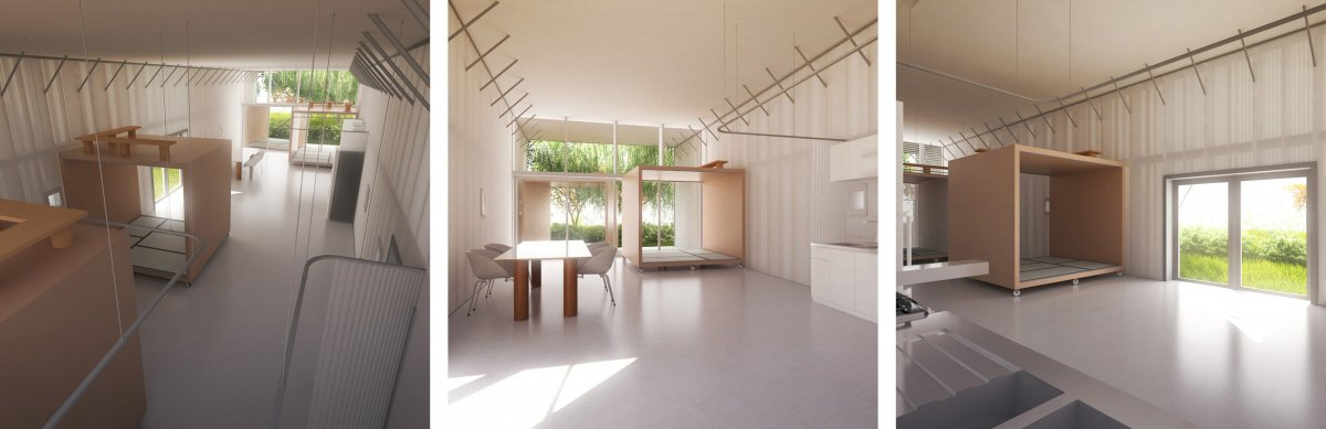 Shigeru Ban - Naked House. This interior has cube shaped modules with tatami mats in the. The cubes are on castors, so they can be wheeled around to change up the space. I like the simple geometric shape of the cubes. They can be used as room dividers, you can also sit inside them. The simple minimalist aesthetic is pleasing to the eye. The use of simple materials such as concrete and wood give a natural feeling to the interior. The reflective floor makes the space look bigger as it multiplies the natural lighting. There is a curtain railing system hanging from the ceiling, so the space can be configured and divided up. The space can be adapted to whoever lives there and what their daily needs are.