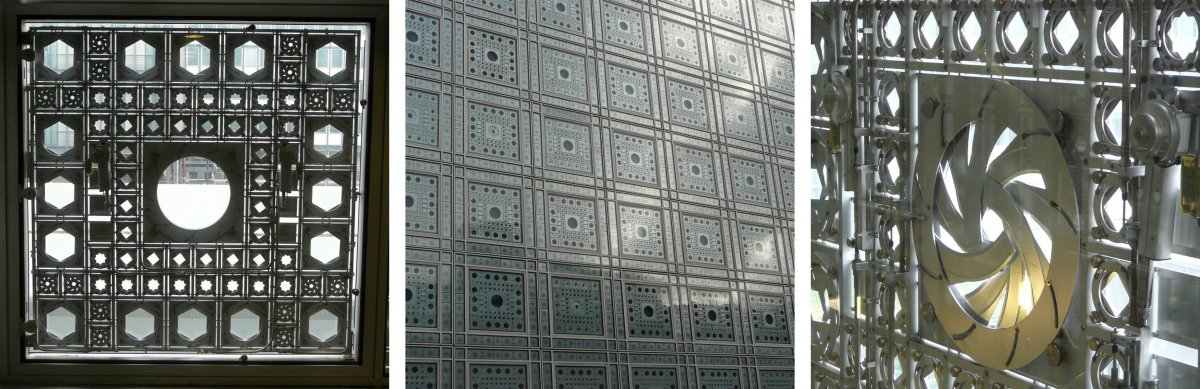 Jean Nouvel - Institut du Monde Arabe. The walls of this building is covered in metal apertures that can be opened and closed, when they are open they can let in light, when closed, they block out the light. The light that comes through the window comes in as circular beams of light that change depending on the size of the opening. This can change the atmosphere of the space with a brighter feeling or a more moody look. Each tile comprises of different sized apertures. The metal segments of the aperture fit together in a curved shape. Each tile on window can be individually opened and closed, to give a more varied look on the inside. I find the concept and look of the facade to be very modern and it has a utilitarian look to it.