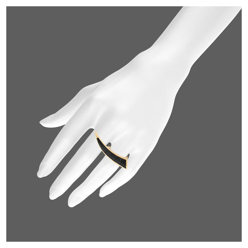 """"""" The polished finish is achieved by way of 18ct yellow gold and 6.92cts of black onyx, which has been painstakingly carved to taper to a fine point.""""---from http://www.shaunleane.com/shop/fine-jewellery.html"""