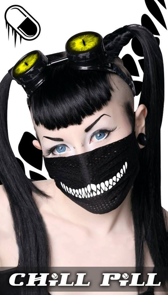 Chill Pill CHESHIRE CAT raver surgical mask. by ChillPillClubWear.jpg